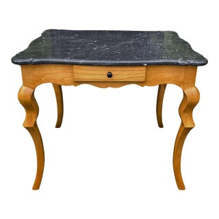 Charles Pollock Biedermeier Style Marble Top Side Table W Cabriolet Legs For Sale