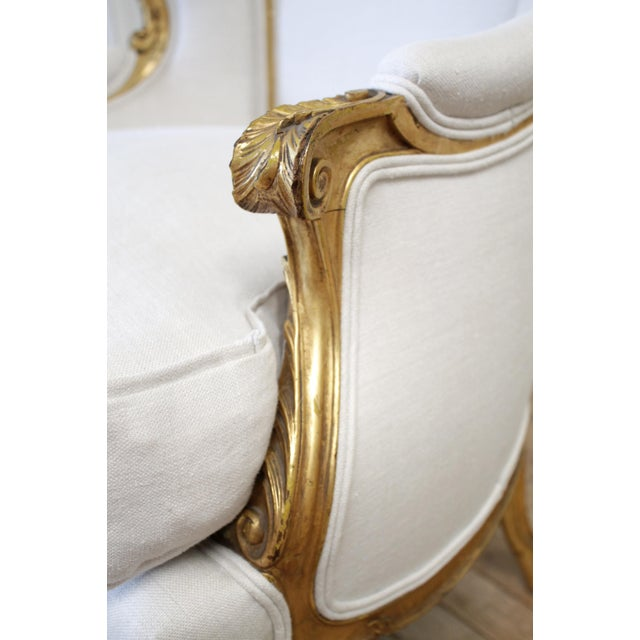 Pair of Antique Giltwood Linen Upholstered Bergère Chairs For Sale - Image 10 of 13