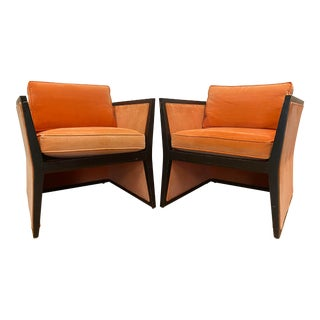Harvey Probber Style Orange Mohair and Black Lacquer Club Chairs - a Pair For Sale