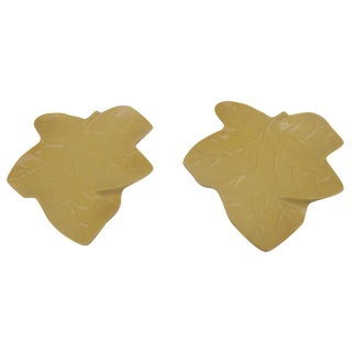 Ceramic Maple Leaf Wall Pockets - A Pair For Sale