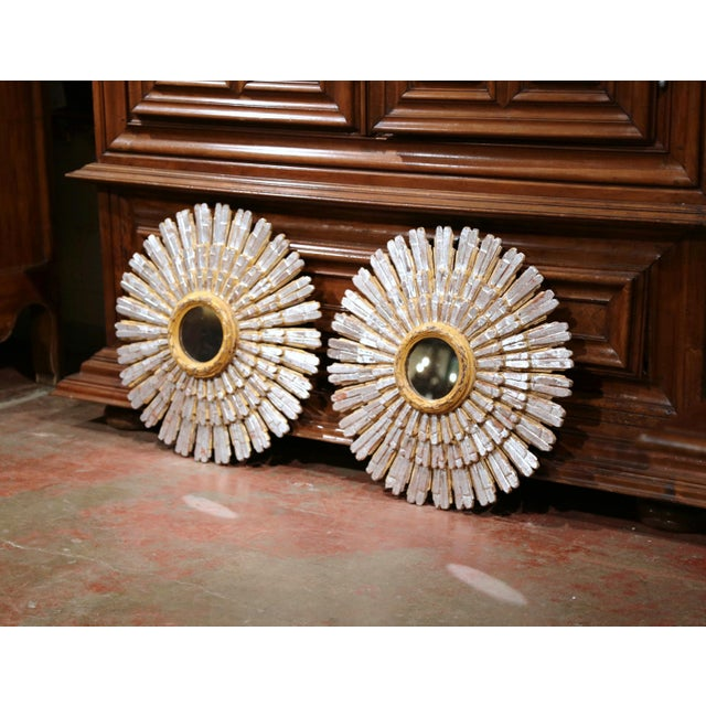 Gold Mid-20th Century French Painted and Silvered Carved Sunburst Mirrors - a Pair For Sale - Image 8 of 10