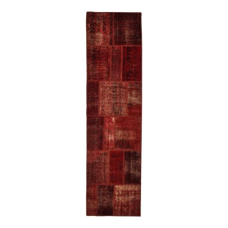 """Turkish Over-Dyed Distressed Patchwork Runner Rug - 2'7"""" X 9'10"""" For Sale"""