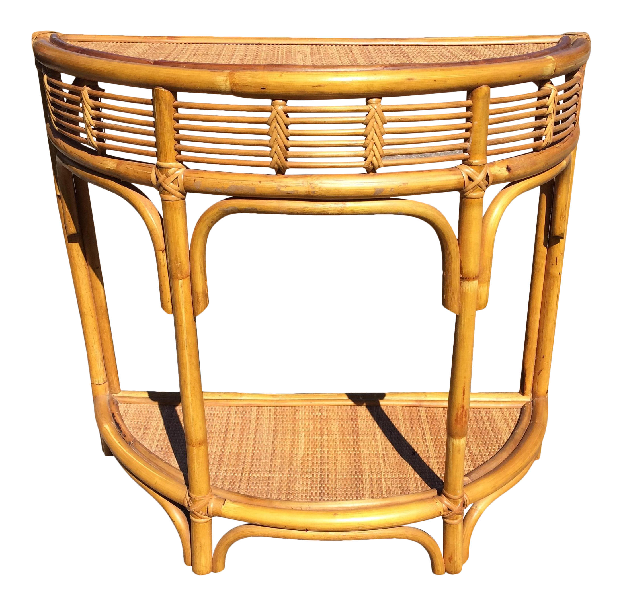 Vintage Rattan Bamboo Demilune Entry Table
