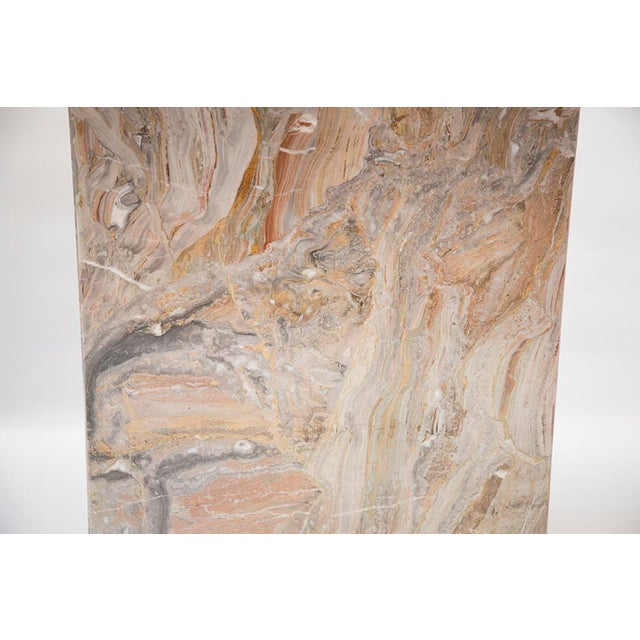 Orange Variegated Marble Console Table For Sale - Image 8 of 10