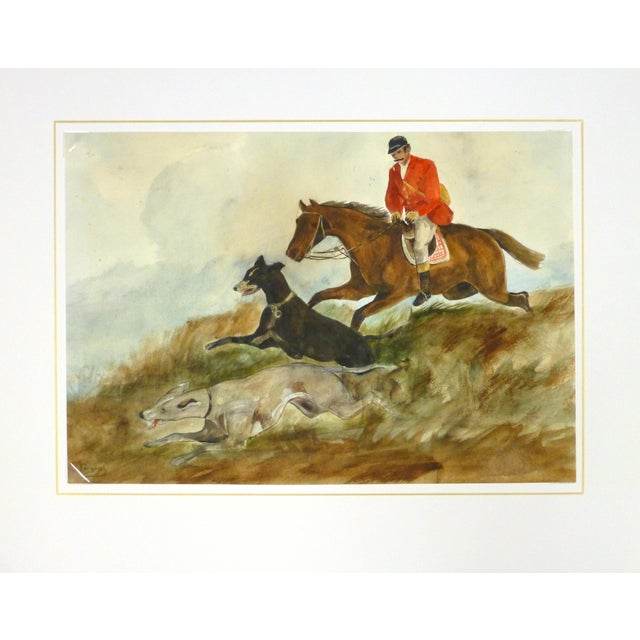 "C. 1950 Vintage Watercolor, ""The Fox Hunt"" - Image 4 of 4"