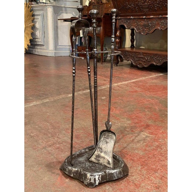 Mid-19th Century French Louis XIV Polished Iron Fireplace Tool Set With Stand For Sale In Dallas - Image 6 of 6