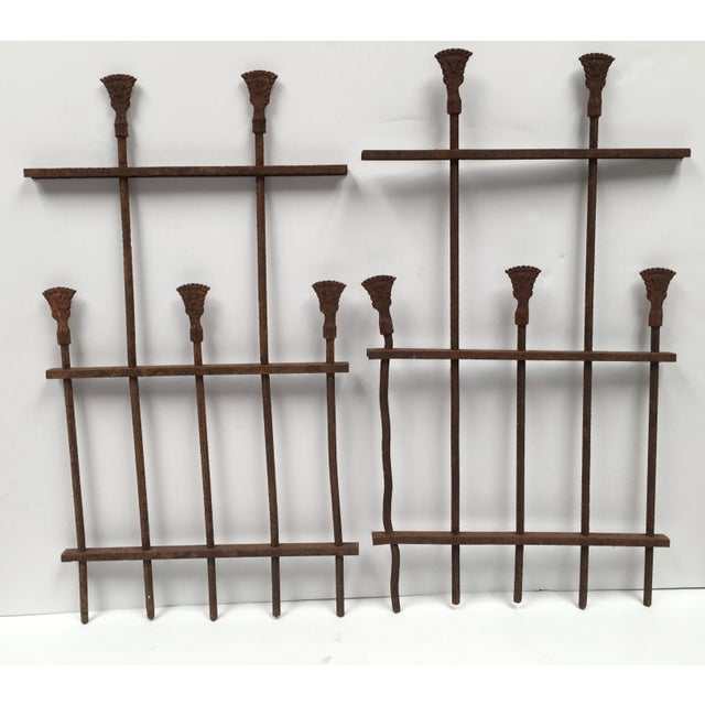 Amazing Architectural Salvage. This pair of iron ornamental fence pieces make a unique decor statement. Naturally aged to...