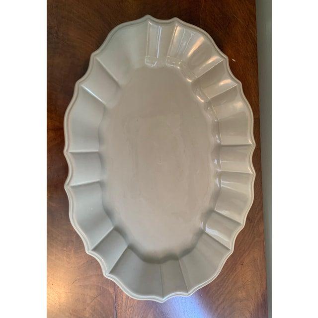 Ceramic Bloomingdales Taupe Scalloped Edge Ceramic Platter For Sale - Image 7 of 8