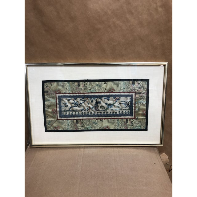 Vintage Asian embroidered Panel in gold Metal frame