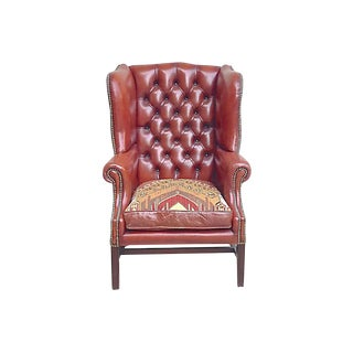1900s Antique Red Leather Wingback Chair For Sale