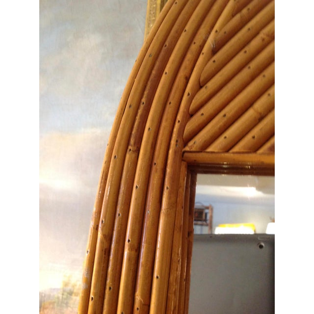 Mid Century Palladian Style Pencil Reed Rattan Mirror For Sale In West Palm - Image 6 of 10