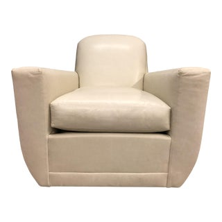 Hickory Chair Knox Beige Leather Swivel Club Chair For Sale