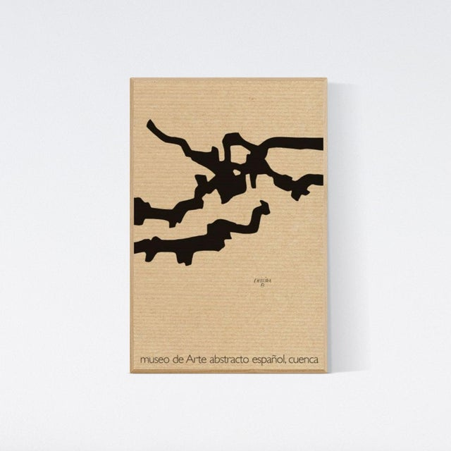 Abstract Eduardo Chillida Vintage Black Minimal Geometric Marble and Lead Museo De Arte Abstracto Español Lithography Poster For Sale - Image 3 of 3