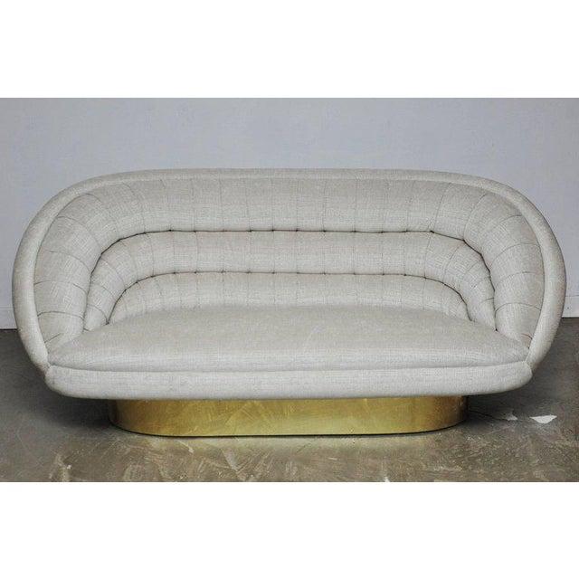 Gold Vladimir Kagan Crescent Sofa on Brass Base For Sale - Image 8 of 8