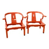 Image of Mid 20th Century Orange Lacquer Ming Chairs - a Pair For Sale