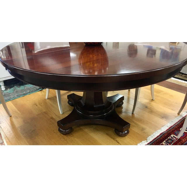 1990s Bernhardt Dining Room Set Round Mahogany Table and Nailhead Chairs For Sale - Image 5 of 13