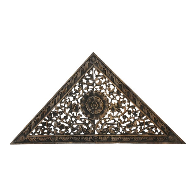 Antique Burn Triangle Carved Panel Medium For Sale