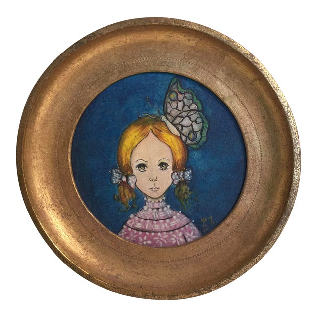 1960s Vintage Round Painting in Gilt Frame, Signed For Sale
