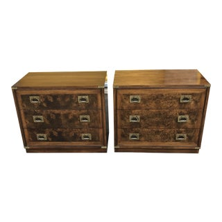 Hickory Furniture Burlwood Campaign Nightstands For Sale