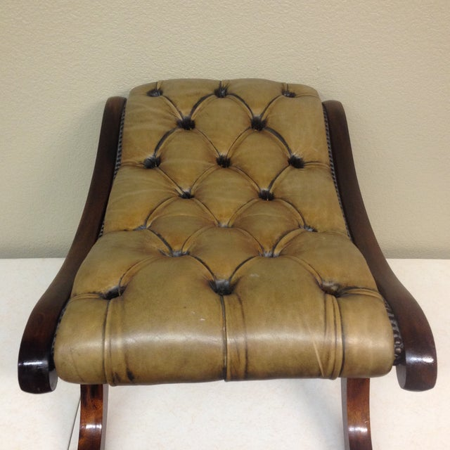 Antiqued Tufted Leather Ottoman - Image 5 of 9