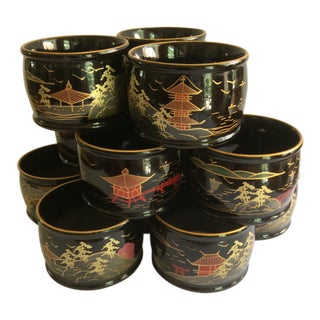 12 Hand Painted Black Lacquer Japanese Napkin Rings