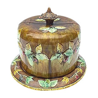 Antique Majolica Covered Dish