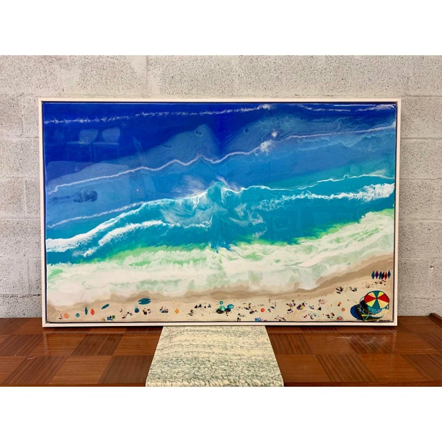 Abstract Framed Oil Painting With Resin on Canvas by Franchy For Sale - Image 4 of 13