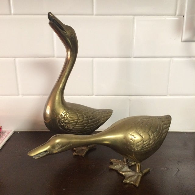 Large Brass Ducks - A Pair - Image 2 of 4