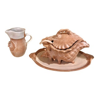 Mid-Century Conch Soup Tureen With Matching Tray, Ladle, and Pitcher - Set of 3 For Sale