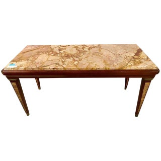 Maison Jansen Marble-Top Coffee Table or Low Table With Gilt Gold Leg Detail For Sale