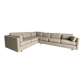 Mid Century Newly Upholstered 2-Piece Tan Sectional For Sale