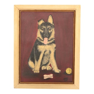German Shepherd Puppy Dog Painting For Sale