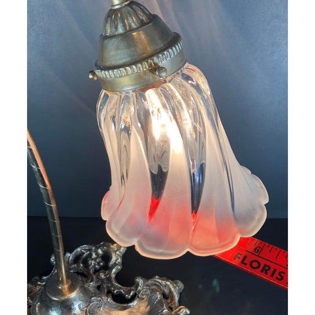 Vintage Victorian Brass Goose Neck Lamp Tulip Glass Shade Ink Holder Lamp Desk Side Table Light For Sale - Image 9 of 12