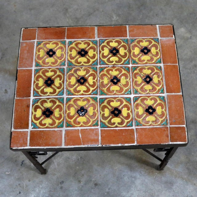 Green Art Deco Wrought Iron and Tile Side Table California Style Tiles For Sale - Image 8 of 11