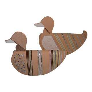 """Hand Painted Italian Terra Cotta """"Rocking"""" Ducks in Boxes - a Pair For Sale"""