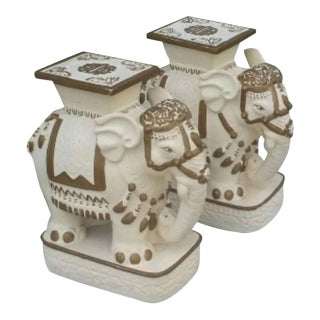 Hollywood Regency Gold White Elephants Stools Plant Stands / Garden Benches - a Pair