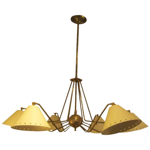 Custom Six-Light Brass and Tole Fixture in the Mid-Century Manner For Sale