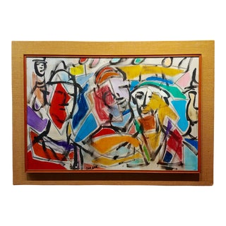 1960s Abstract Oil Painting, Faces in a Landscape by Pascal Cucaro For Sale