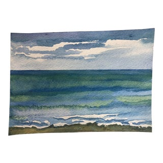 "Final Price! Contemporary Watercolor ""Catch a Wave"" by Nancy Smith For Sale"