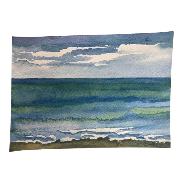 """Final Price! Contemporary Watercolor """"Catch a Wave"""" by Nancy Smith For Sale"""
