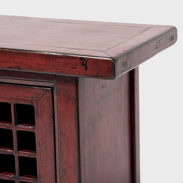 Red Chinese Courtyard Lattice Coffer For Sale - Image 8 of 9