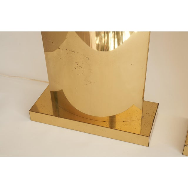 Mid-Century Modern Monumental Curtis Jere Brass Lamps - a Pair For Sale - Image 3 of 8