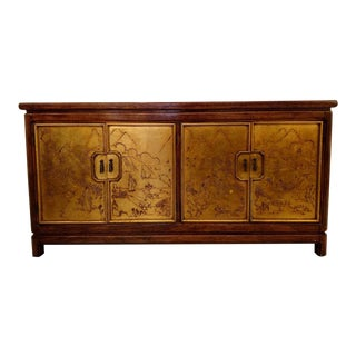 Thomasville - Mystique Collection, Gold Leafed Asian Cabinet, 1980 For Sale