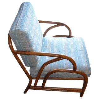 Midcentury Lounge Chair of Bamboo With Tight Spring Cushioning For Sale