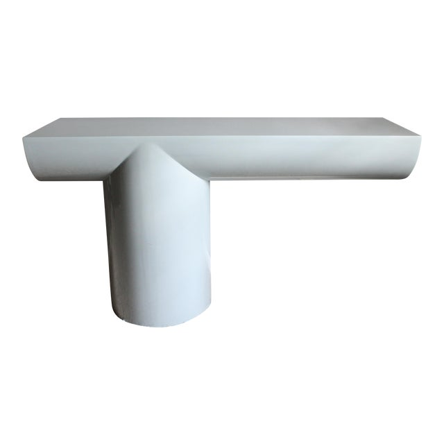 """Space Age Gray Lacquered J. Wade Beam """"Tee"""" Console Table for Brueton For Sale"""
