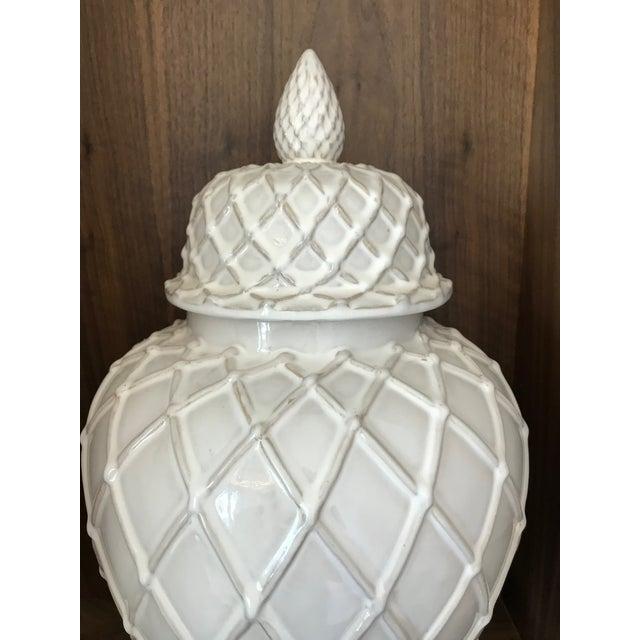 Ceramic Exquisite Blanc De Chine Lidded Vase With Lattice Design, Italy For Sale - Image 7 of 12