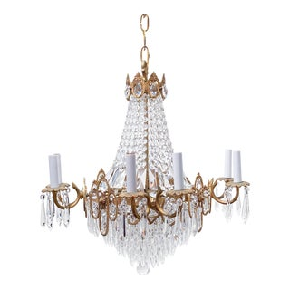 Vintage Brass Empire Style Chandelier For Sale