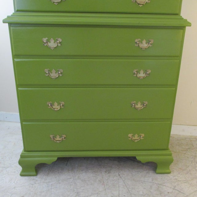 1940s Painted Green Eight Drawer Chest on Chest Dresser For Sale - Image 4 of 10