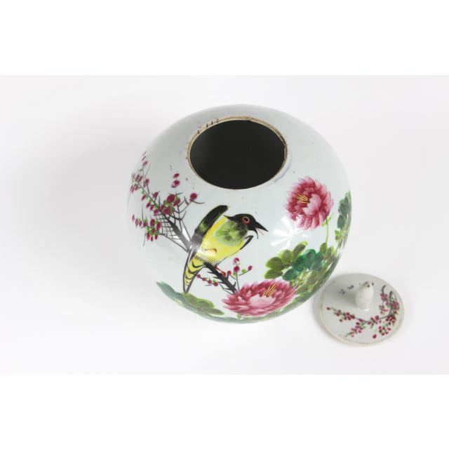 Chinoiserie Chinese Qing Floral Ceramic Ginger Jar For Sale - Image 3 of 10