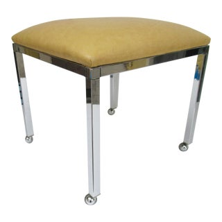 Mid-Century Milo Baughman Chrome Bench With Chrome Castors